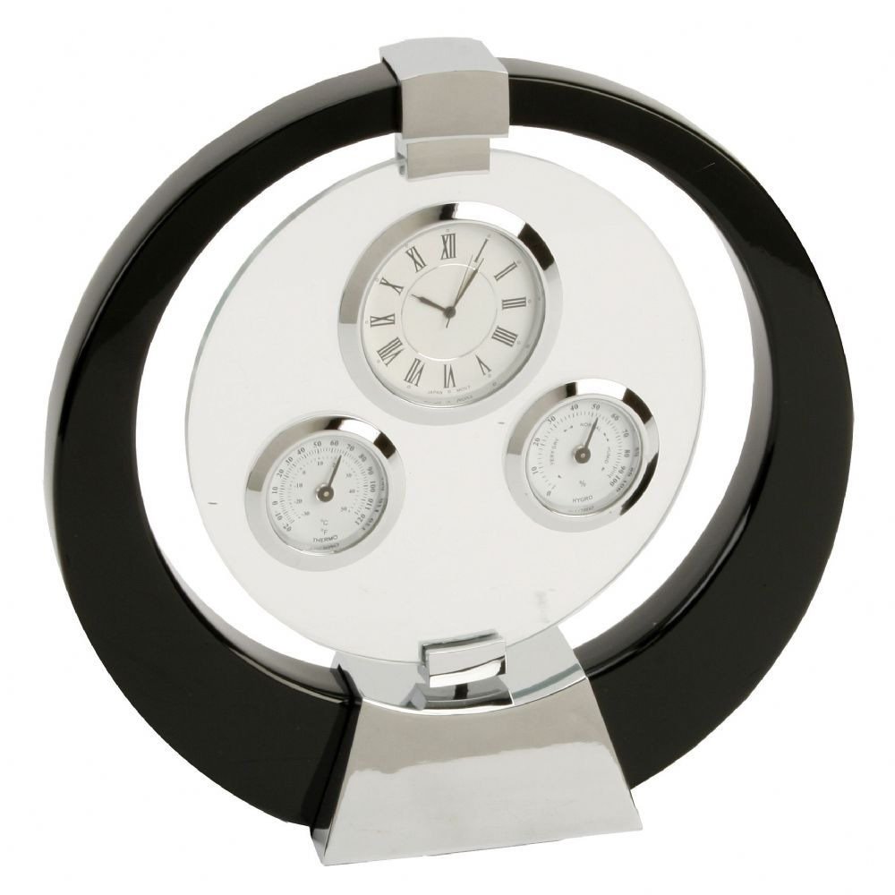 Black Polished Wood Mantel Clock with Triple Dial Rotating Centre